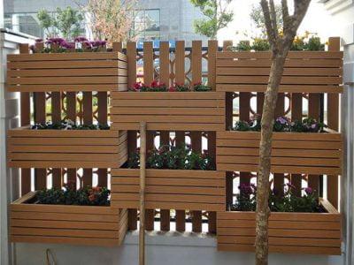 Bồn hoa gỗ nhựa làm hàng rào